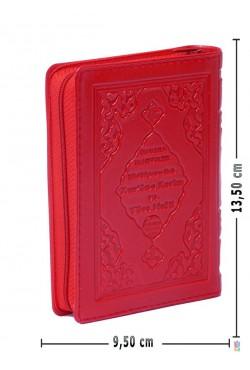 (CEP Boy 9.5X13.5 cm, Fermuarlı, KIRMIZI) Efdal Bilgisayar Hatlı Kuran-ı Kerim ve Yüce Meali